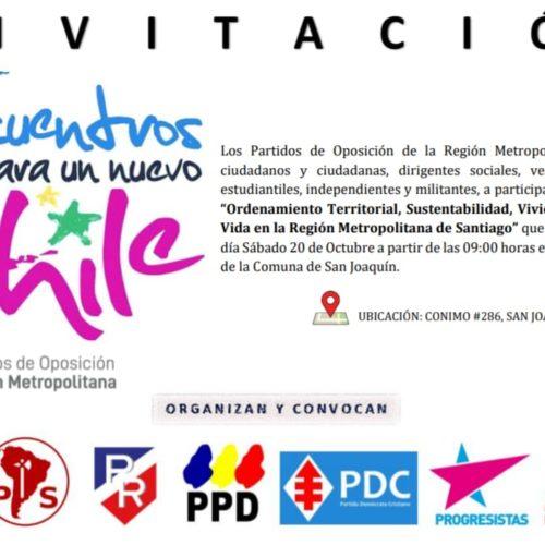 Partidos políticos de oposición de la RM se reunirán en la segunda edición de Encuentros para un Nuevo Chile