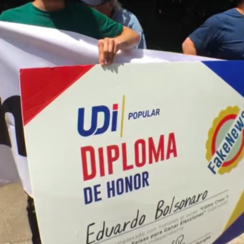 Juventudes Progresistas protagonizaron protesta en visita de hijo de Bolsonaro a Chile