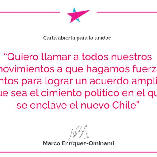 Marco Enríquez-Ominami: Carta abierta para la unidad